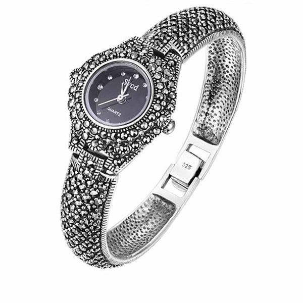 Women Pave Marcasite Black 925 Sterling Silver Retro Wrist Watches Classic Thai Silver Bracelet Hot Sale Real Silver Bangle - Creative Dreamscape