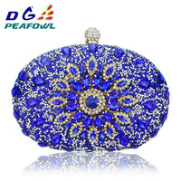 Luxury Clutch chain bag woman wedding diamond crystal Floral blue red Sling designer purse cell phone pocket wallet Handbags - Creative Dreamscape