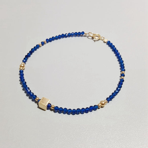 Lii Ji Lab-Created Sapphire 2mm Beads with 925 Sterling Silver 18K Gold Plated Matte Cube Delicate Bracelet - Creative Dreamscape