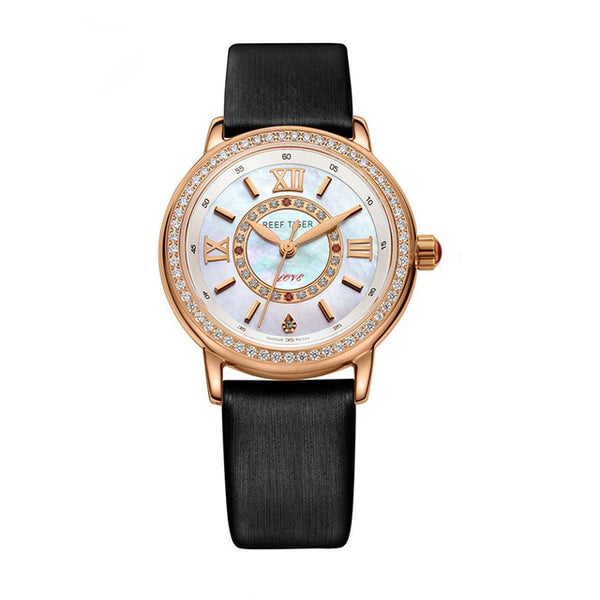 Reef Tiger/RT Top Brand Luxury Women Watch Genuine Leather Strap Diamond Sheel Dial Ladies Watches RGA1563 2019 Relogio Feminino - Creative Dreamscape