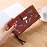 Aosbos 2019 Women Wallet Purse Female Long Wallet Gold Hollow Leaves Pouch Handbag For Women Coin Purse Card Holders Clutch Bag - Creative Dreamscape