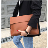 New Fashion 2019 Women Men OL Briefcase Luxury Handbags Envelope Large Clutch Purse Bags Leather Designer Soild Brown Black Red - Creative Dreamscape