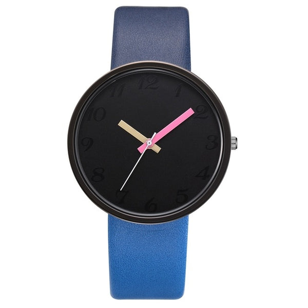 Women Watch Gray Contrast Leather Quartz Watch Women Men Watches Lovers Unisex Casual Ladies Wrist Watch Clock Relogio Feminino - Creative Dreamscape