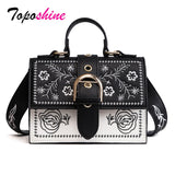 Toposhine Fashion Women Bag Panelled Vintage Flower Girls Bags for Girls Black PU Leather Women Messenger Bags Drop Shipping - Creative Dreamscape