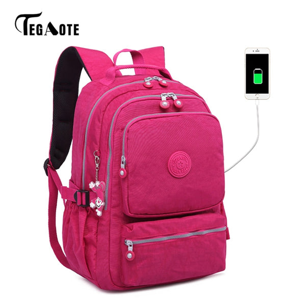 Girl Oxford Anti-theft Travel Waterproof Backpack Large Capacity USB Charge bag