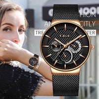 LIGE New Women Fashion Watch Creative Lady Casual Watches Stainless Steel Mesh Band Stylish Desgin Luxury Quartz Watch For Women - Creative Dreamscape
