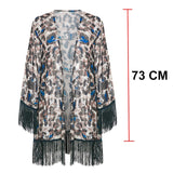 Tassel Leopard chiffon beach cover-ups Tunics for beach kaftan Bikini cover up robe de plage Sarong beach swimsuit cover up 2019 - Creative Dreamscape