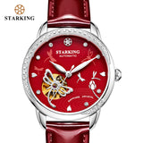 STARKING Women Skeleton Automatic Mechanical Watch Luxury Brand Sapphire White Case Genuine Leather Wristwatch Female Clock 5ATM - Creative Dreamscape