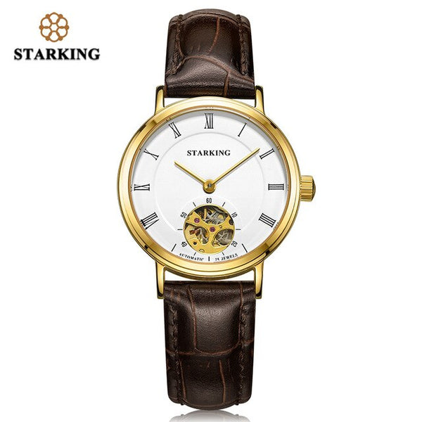 STARKING Women Mechanical Automatic Self-Wind Watch Skeleton Design Sapphire Crystal Wristwatches Waterproof 5ATM Girl's Gift - Creative Dreamscape
