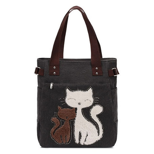 Lovely Cute Cat Canvas Handbag for Girls Ladies Large Capacity Casual Bag Women Portable Solid Zipper Shoulder Bag Bolsos S1798 - Creative Dreamscape