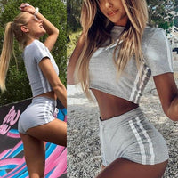 Hot 2019 Women Sets 2Pcs Elastic Bandage Suits Tracksuit Solid O-Neck Sports Gym Run Top Shorts Ladies Fashion Casual Summer - Creative Dreamscape