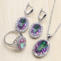 Mystic Rainbow Zircon Silver Bridal Jewelry Sets Women Earrings Rings Pendant Necklace Bracelets Set Gift Box - Creative Dreamscape