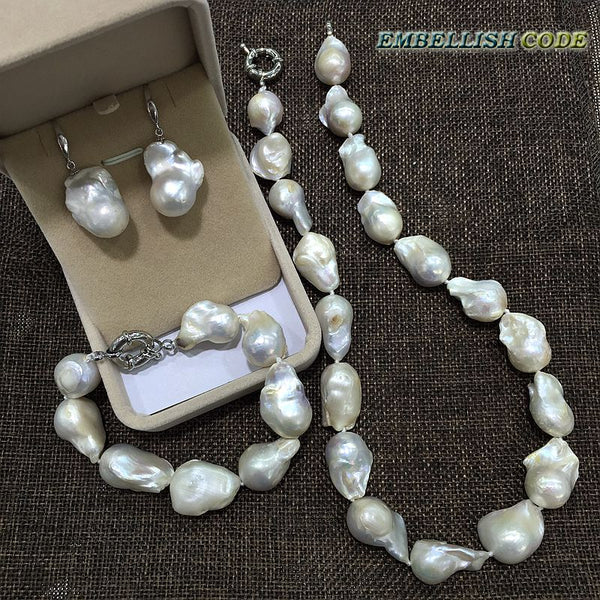necklace bracelet hook earrings set large size baroque or Irregular white nucleated flameball shape Freshwater pearl Special - Creative Dreamscape