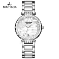 Reef Tiger/RT Luxury Brand Pink Automatic Calendar Watch Women Link Bracelet Watch Steel Diamond Ceramic Wrist Watches RGA1592 - Creative Dreamscape