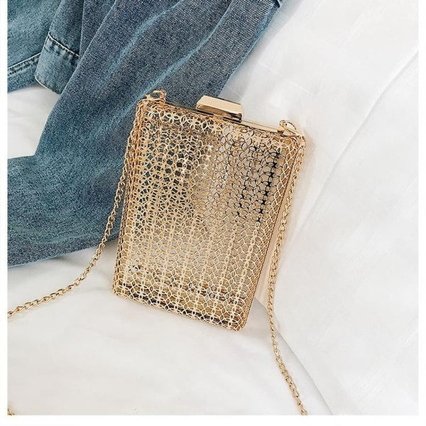 Hollow metal women shoulder bag gold cages square clutch evening ladies luxury wedding party crossbody purse handbag - Creative Dreamscape