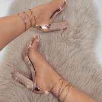 Big size 34-43 Women Heeled Sandals Bandage Rhinestone Ankle Strap Pumps Super High Heels 11 CM Square Heels Lady Shoes new #265 - Creative Dreamscape
