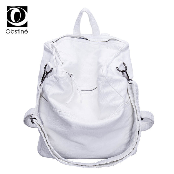 Soft PU Leather Anti Theft Backpack Women Solid Casual Travel Backpacks Female White Zipper Rucksack Bags Large Shoulder Bag - Creative Dreamscape