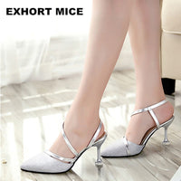 2019 Summer heel High Heels Sandals lady Pumps classics slip on Shoes sexy Women party shoes gold silver Wedding Slingbacks - Creative Dreamscape