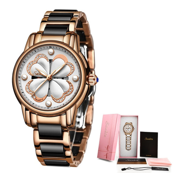 2019 New SUNKTA Top Brand Luxury Waterproof Women Watches Fashion Simple Ceramic Quartz Watch Women Dress Clock Relogio Feminino - Creative Dreamscape