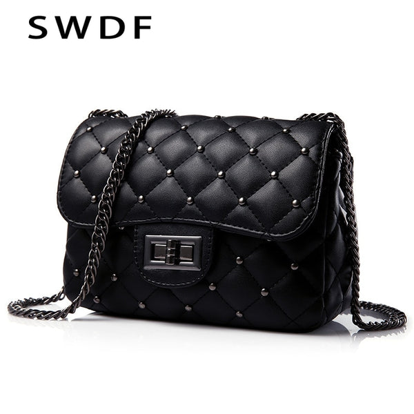 Spring New Vintage Rivet Small Square Crossbody Bags Mini Women Handbag Lock Pu Leather Chain Shoulder Bag Woman Messeng Bags - Creative Dreamscape