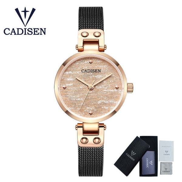 CADISEN 2019 New Women's Watches Ladies Luxury Brand Watch Fashion Lady Quartz Wristwatch Gold Sapphire Crystal Dial Reloj Mujer - Creative Dreamscape