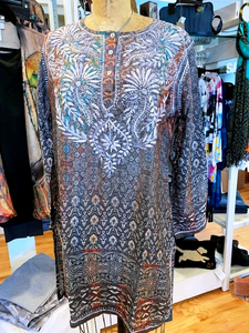 Silk Blend Embroidered Tunic
