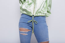 Load image into Gallery viewer, Silky Green Bomber Jacket