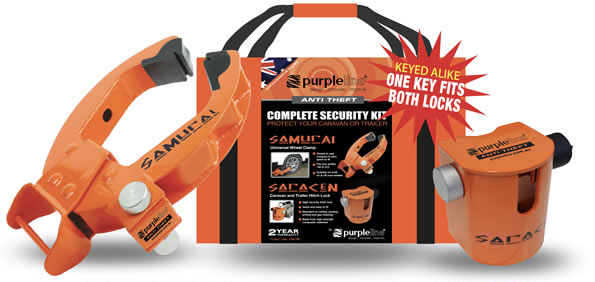 Saracen hitch lock & samurai wheel clamp complete security kit