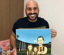 Load image into Gallery viewer, I'm Cartoonified | AFL Theme Canvas | Personalised Canvas Artworks