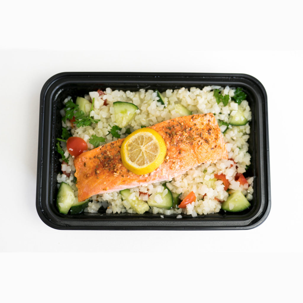 Salmon and Cauliflower Rice Tabbouleh