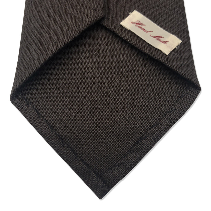 Irish linen dark brown tie untipped