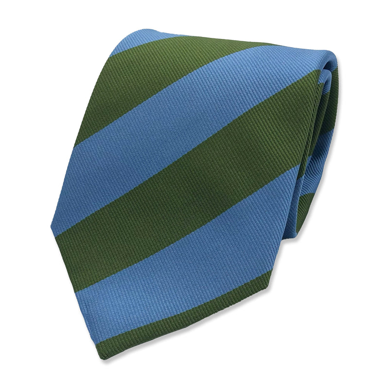 Kubo Classic silk green blue stripe tie