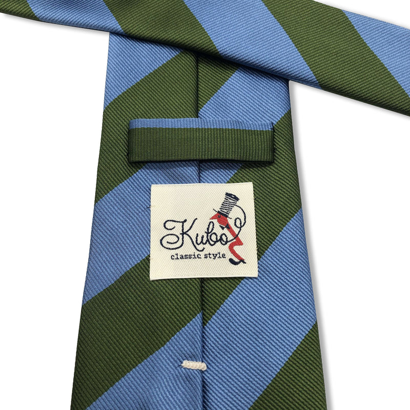 Kubo Classic silk green blue stripe tie hand made