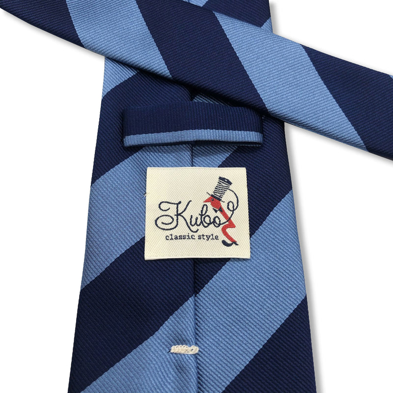 Kubo Classic navy blue stripe tie hand made