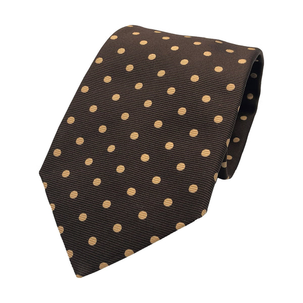 Kubo Classic polka dot tie in brown with beige dots