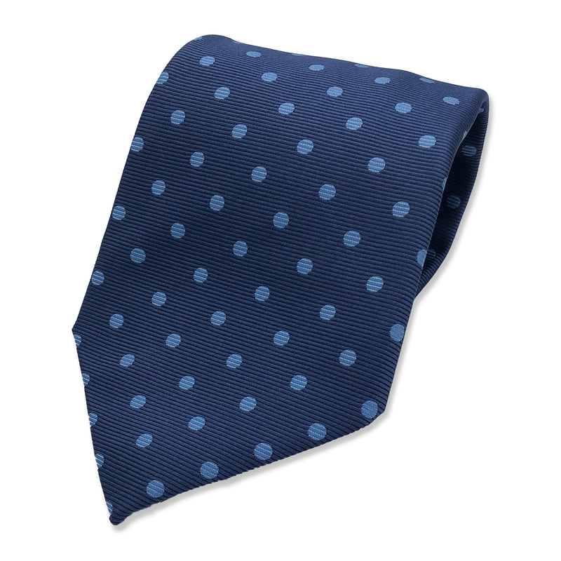Kubo Classic silk polka dot tie in blue with blue dots