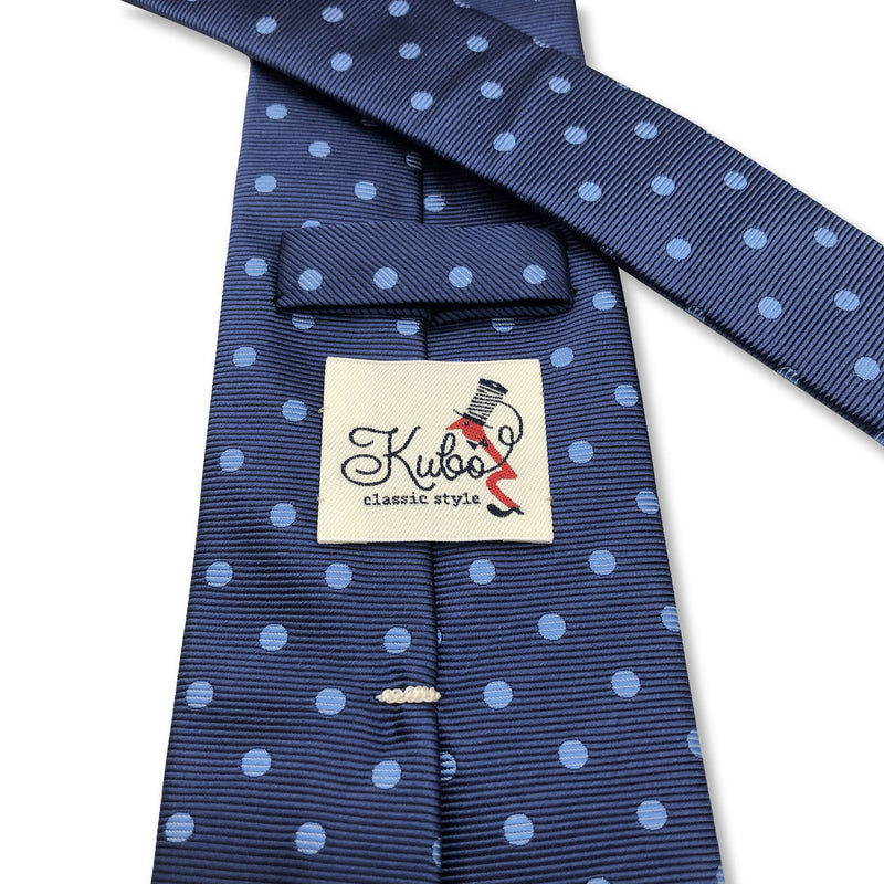Kubo Classic silk polka dot tie in blue with blue dots hand made