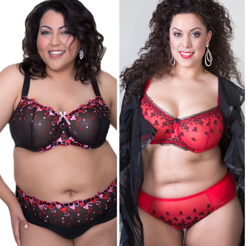 Plus size lace bras with hearts. Red and black lace