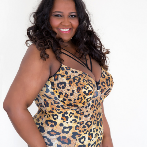 Leopard Print Plus size one piece swimsuit