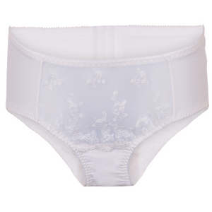 high waisted plussize panties, white lace, bbw lingerie