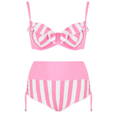 Load image into Gallery viewer, women' bathing suit, two piece swimsuit in candy pink stripe