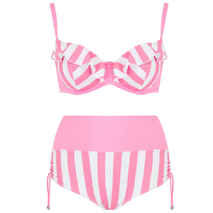 women' bathing suit, two piece swimsuit in candy pink stripe