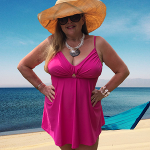 Plus-Size Tankini swimwear set Black, Pink and Aqua Blue
