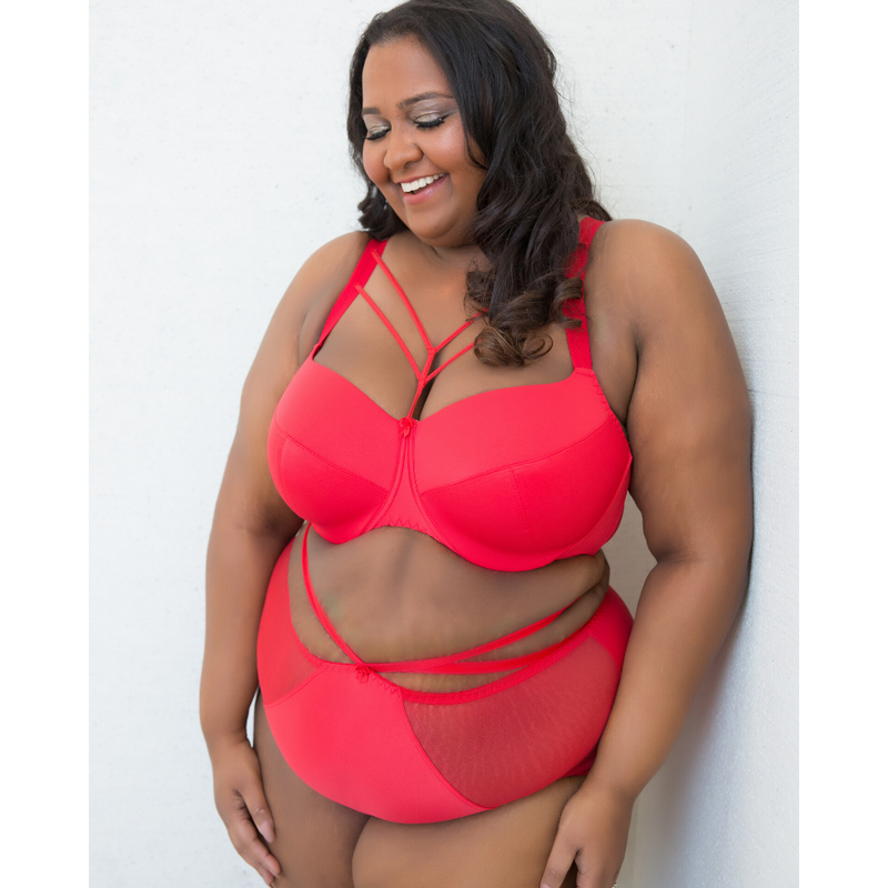 Red Satin Harness Strap Plus-Size Panties