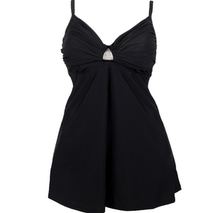 black tankini, two piece bathing suit