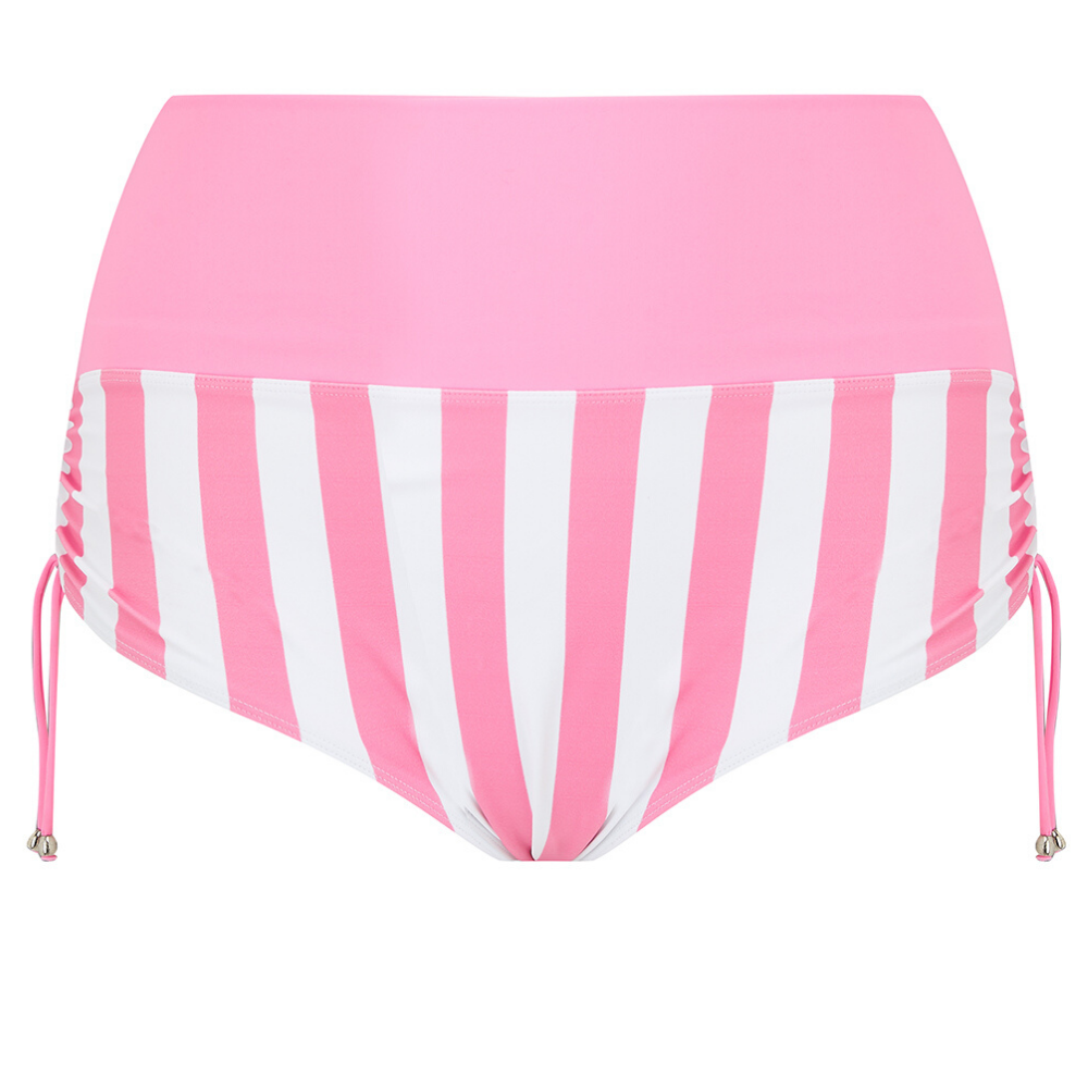pink bikini bottoms, pink and white stripe plus size two piece swimsuit