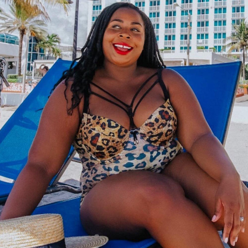 plus size one piece swimsuit with detachable harness straps on front