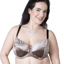 Load image into Gallery viewer, velvet bra, nude brown plus size velvet bra bralette