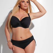 Load image into Gallery viewer, Black, Side Ruched Plus-Size Bikini Briefs.