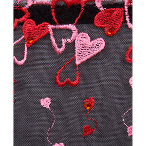 Romance Black Plus Size Basque, Corset, Bustier with Pink and Red Hearts